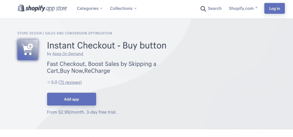 Instant checkout screenshot