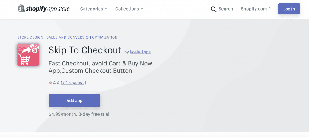 Skip to checkout screenshot